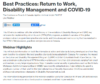 Best Practices: Return to Work, Disability Management and COVID-19