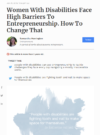 Women With Disabilities Face High Barriers To Entrepreneurship. How To Change That